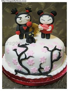 Pucca & Garu Cake / Bolo Pucca e Garu by Dragonfly Doces, via Flickr