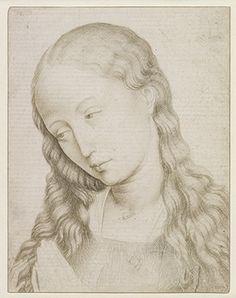 Rogier van der Weyden (1400-1464), Head of the Virgin. Metalpoint, on prepared paper, mid-15th century. BM.