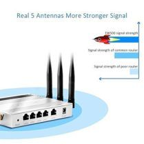 AFOUNDRY Wireless Router Fast High Speed Wifi Router 5x5dBi Antenna Metal Computer Router for Home office Network(Silvery)