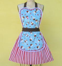 Cupcake print retro apron Lover Dovers via Etsy.