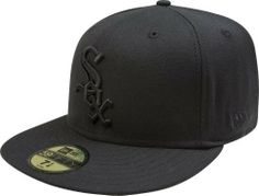 MLB Chicago White Sox Black on Black 59FIFTY Fitted Cap by New Era. $27.89. 59FIFTY fitted cap in fashion color. Embroidered Team logo in raised embroidery at front. Made of 100 percent Wool. Officially licensed by Major League Baseball. 59FIFTY is the official on-field cap of Major League Baseball and is worn by every Major League Baseball player. With this fashion version of the 59FIFTY you can show your team pride with style.