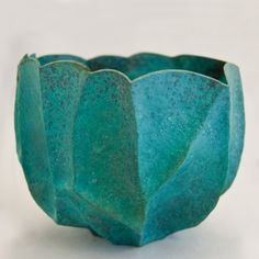 Malin Winberg, Louhi Copper with Patina, hand raised copper bowl with green patina
