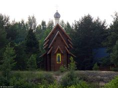 The new wooden church at the birthplace of St. Alexander Svirsky at the Oyat river.