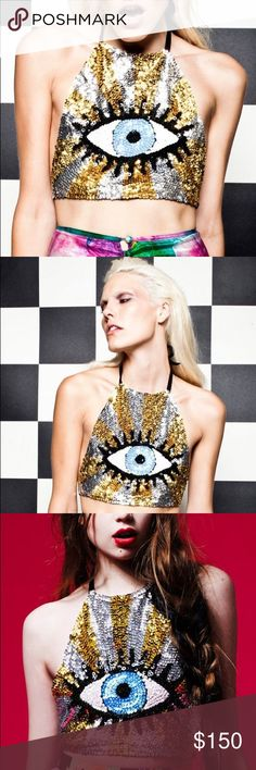 Discount Universe Seeing Eyes Sequin Halter Gold Brand new never worn in Gold tone, size XS/S I have two other colors if you are interested...peach and blue discount universe Tops Crop Tops