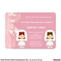 Sold #Pink #Flowers #HolyCommunion #Twins #Invitation Available in different products. Check more at www.zazzle.com/graphicdesign
