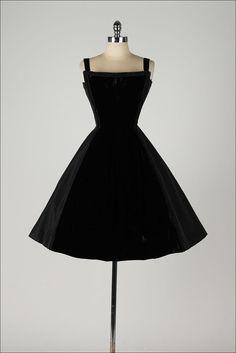 1950's Taffeta and Velvet Dress
