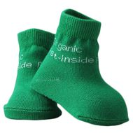 Organic Pest-Inside funny green baby socks with anti-slip out soles