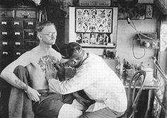 Man getting tattooed in San Francisco, CA National Geographic | April 1932