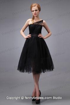 Decent Black Tulle One Shoulder Knee-length Prom Dress - Fannybrides.com