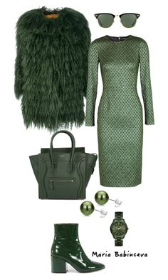 """Без названия #818"" by mariaalex-stylist ❤ liked on Polyvore featuring Alessandra Chamonix, Dolce&Gabbana, Dries Van Noten, CÉLINE, DaVonna, Ray-Ban and MICHAEL Michael Kors"