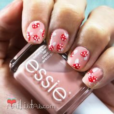 Autumn Nail Art #Mushrooms #shortnails | https://www.facebook.com/Nailistas Uñas cortas decoradas de otoño | Nail art de setas (amanitas)