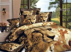 Chic Style Lovely Leopard Print 4-Piece Cotton Duvet Cover Sets #3d #bedding #bedroom