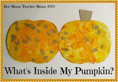 Boy Mama Teacher Mama: What's Inside My Pumpkin? Halloween Activities, Autumn Activities, Craft Activities For Kids, Halloween Crafts, Crafts For Kids, Preschool Halloween, Fall Preschool, Preschool Themes, Preschool Crafts