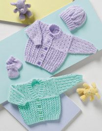 Cardigans, Hat & Mittens in Stylecraft Wondersoft DK - Discover more Patterns by Stylecraft at LoveKnitting. The world's largest range of knitting supplies - we stock patterns, yarn, needles and books from all of your favourite brands. Free Knitting Patterns Uk, Baby Cardigan Knitting Pattern, Mittens Pattern, Baby Knitting Patterns Free Newborn, Scarf Knit, Free Pattern, Baby Girl Cardigans, Baby Sweaters, Crochet Baby Blanket Beginner