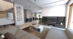 parter domu jednorodzinnego - Duży salon z kuchnią z jadalnią, styl nowoczesny - zdjęcie od A2 STUDIO pracownia architektury