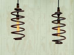 Hanging Industrial Pendant Lights - Pair of Industrial Springs Upcylced to Pendant Lights
