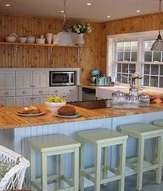 """Kitchen - This is the color scheme I want for my tiny house! """"design inc."""" Season 2 - Currie's Boathouse - by Sarah Richardson. Knotty Pine Rooms, Knotty Pine Decor, Laminate Countertops, Concrete Countertops, Kitchen Countertops, Sarah Richardson, Pine Kitchen, Kitchen White, Kitchen Redo"""