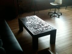 Coffee Table using letterpress woodtype. I absolutely love this! I will attempt to do this one day soon.