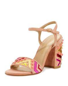STUART WEITZMAN BOTH EMBELLISHED CITY SANDAL, NAKED. #stuartweitzman #shoes #sandals