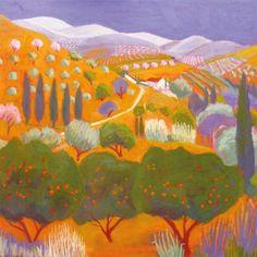 'Three Orange Trees' by Sue Campion, Fine Art Greeting Card, Pastel