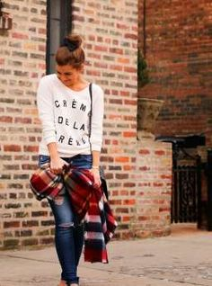 Bows + Graphic Sweatshirt + Plaid Blanket Scarf