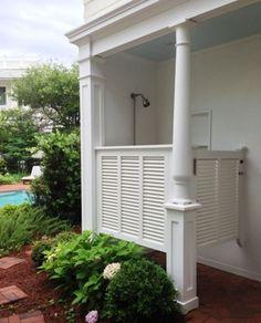 white shutters on a Seaside FL outdoor shower