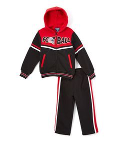Black 'Football' Hoodie & Sweatpants - Infant, Toddler & Boys #zulily #zulilyfinds