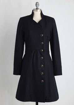 Outdoor Orchestra Coat in Navy. Few things brighten up a brisk day quite like stumbling upon a spontaneous performance in the park in this timeless navy coat! #blue #modcloth