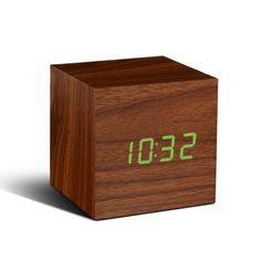 Time can be smart, clever, ultra-stylish, functional and simple with this cube walnut wooden alarm clock. This cube walnut alarm clock can tell you the time, date and temperature alternately in red LED colour on a walnut wood-effect block at the click of