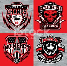 Sports shield emblem graphic set royalty-free stock vector art