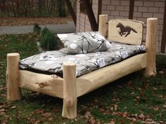 Rustic Log Furniture, Outdoor Furniture, Rustic Outdoor Spaces, 4 Poster Beds, Log Bed, Home Garden Design, Rustic Bedding, House Roof, Kit Homes