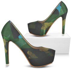 Camouflage Geometric Women's Heels