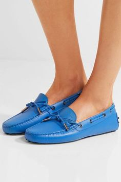 Tod's - Gommino Textured-leather Loafers - Storm blue - IT40.5