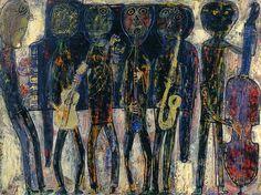 Jean Dubuffet Jazz-Band | 1944. Oil on canvas. 97 x 130 cm. Musée National d'Art Moderne, Centre Georges Pompidou, Paris.