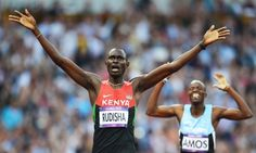 The mild-mannered Kenyan David Rudisha crosses the line to take gold in the 800m men's final in world record time at London 2012