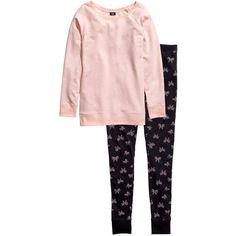H&M Jersey pyjamas (385 MXN) ❤ liked on Polyvore featuring intimates, sleepwear, pajamas, sleep, h&m, light pink e jersey knit pajamas