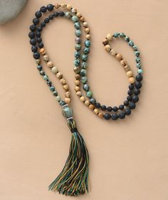 Natural lava beads yoga necklace for meditation and boho chic style