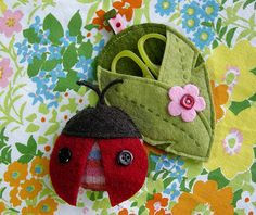 Lady Bug Tape Measure & Leaf Scissor Case pattern by Betz White