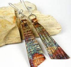 Hammered Copper Dangle Earrings, Rustic copper with Colorful Heat Patina, Forged Silver and Copper Earrings, Angular Shape- Fandango