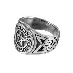 925 Sterling Silver Viking Norse Runes Futhark Pentagram Celtic Knot Wiccan Pagan Ring