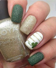 "You cant be too busy to explore this: "" Cute St Patrick's Day Nails! #greengoddess"""