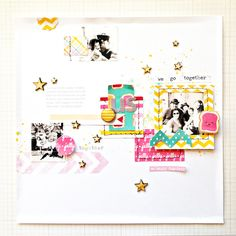 PB&J by ShannaNoel at @Studio_Calico | Love This Layout! | Paper Scraps Stitching Frame Arrow