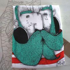 "Men s t shirt ""Mike"" the sailor screen printing original illustration fair wear eco friendly 100% cotton"