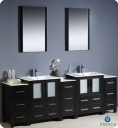 """Fresca FVN62-72ES-UNS Torino 84"""" Modern Double Sink Bathroom Vanity with 3 Side Cabinets and Undermount Sinks, in Espresso"""