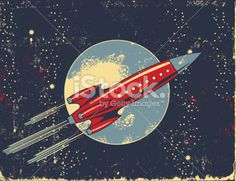 Retro Rocket Cartoon in Outer Space Royalty Free Stock Vector Art Illustration