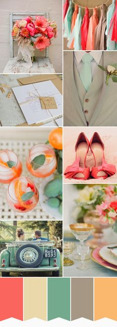 Lovely color pallet of watermelon-coral, fleshy peach, grey, subtle medium pale blue, light yellow gold and cream. Fabric strips tied to rope or cord can be hung anywhere to color drop your event.