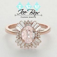 Gatsby Inspired - Morganite Engagement Ring - 1.75ct, 7 x 9mm Oval Morganite in a 14k Rose Gold Diamond Halo Art Deco Setting