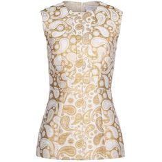 Stella Mccartney Paisley Jacquard Annie Top ($895) ❤ liked on Polyvore featuring tops, blouses, antique gold, jacquard top, sleeveless blouse, stella mccartney top, sleeveless tops and paisley top