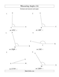 Geometry Worksheet -- Finding Angle Measurements (A) | Math (13 ...
