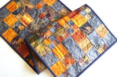 Quilted Patchwork Table Runner in Orange and Purple Batik